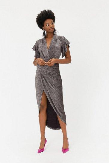 Sparkle V Neck Midi Dress
