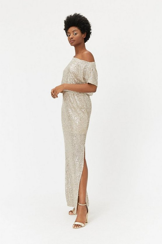 Champagne Sequin Maxi Dress