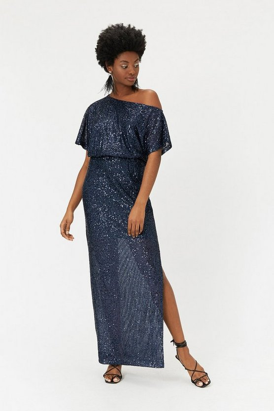 Navy Sequin Maxi Dress