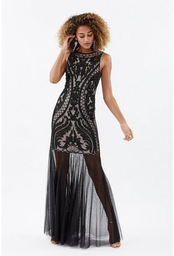 Nude Sleeveless Sequin Beaded Maxi With Mesh Fishtail Hem