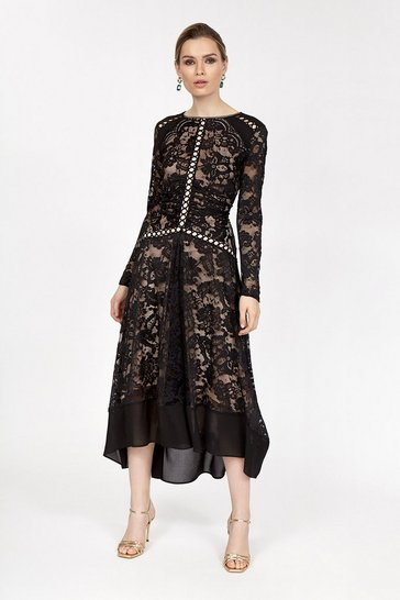 Black Lace Circle Trim Dress