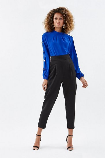 Black Crepe Cropped Leg Pleat Front Trouser