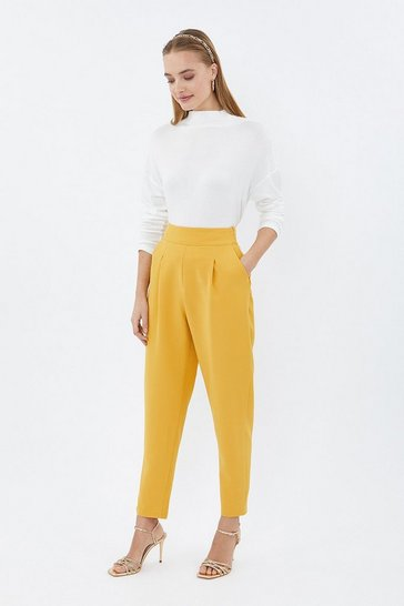Yellow Crepe Cropped Leg Pleat Front Trouser