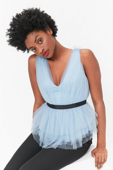 Blue V-Neck Tulle Top