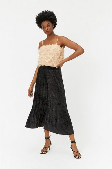 Womens Black Pleated Velvet Culotte