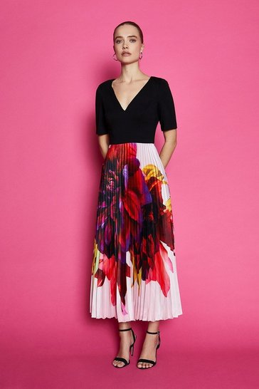 Multi Pleated Print Midi Dress