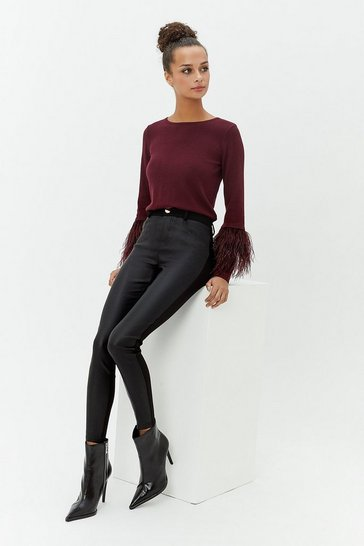 Womens Black Coated Front Ponte Back Skinny Trousers