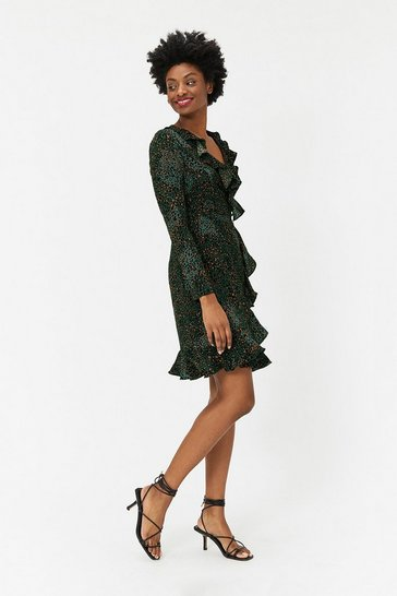 Green Animal Print Wrap Ruffle Dress
