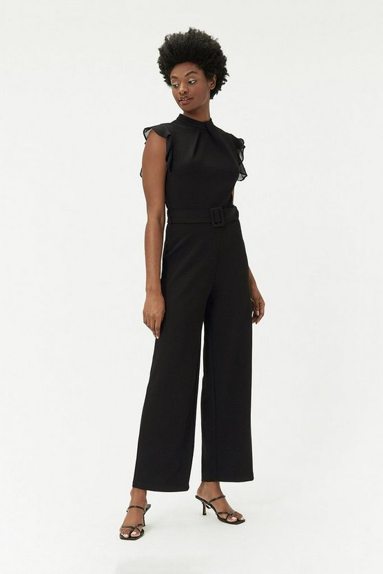 Black Wide-Leg Belted Jumpsuit
