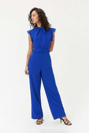 Womens Blue Belted Wide Leg Jumpsuit