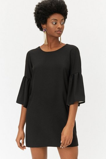 Black Bell Sleeve Smock Dress