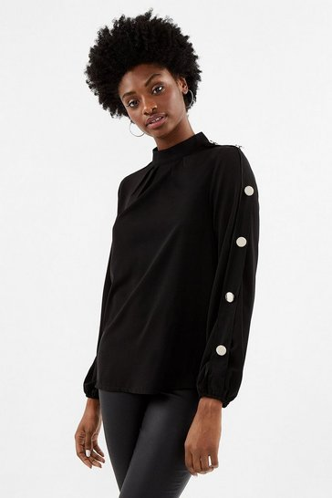 Black Long Sleeve Gold Button Shell Top