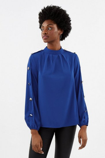 Womens Cobalt Long Sleeve Gold Button Shell Top