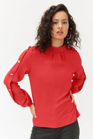 Womens Red Long Sleeve Gold Button Shell Top