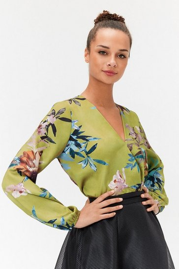 Womens Multi Satin Floral Wrap-Front Blouse