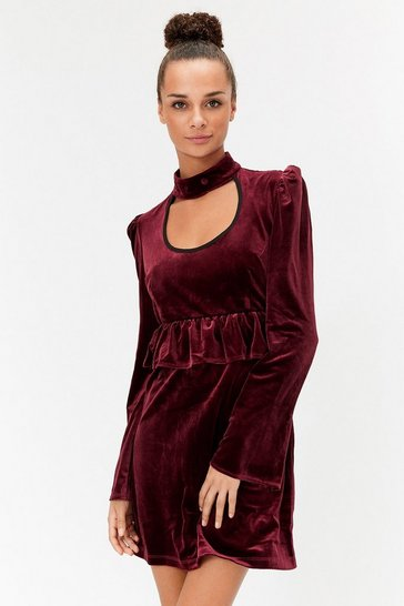 Wine Choker Ruffle Waist Dress