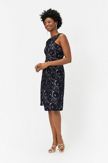 Womens Navy Lace Racer Neck Dress
