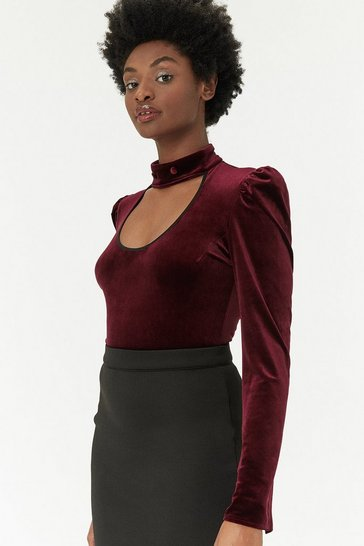 Wine Long Sleeve Velvet Choker Bodysuit