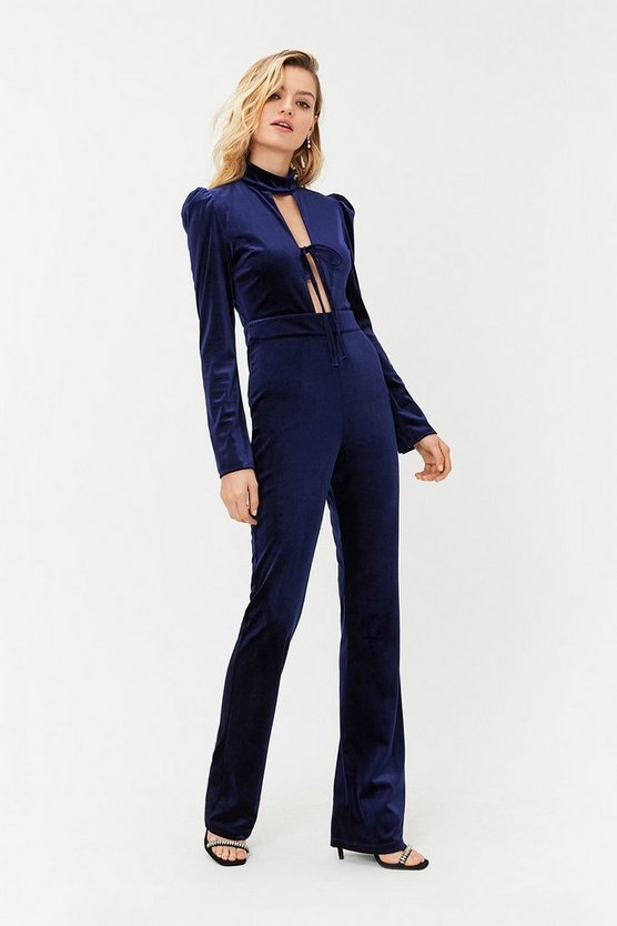 Womens Navy Velvet Bow Detail Jumpsuit