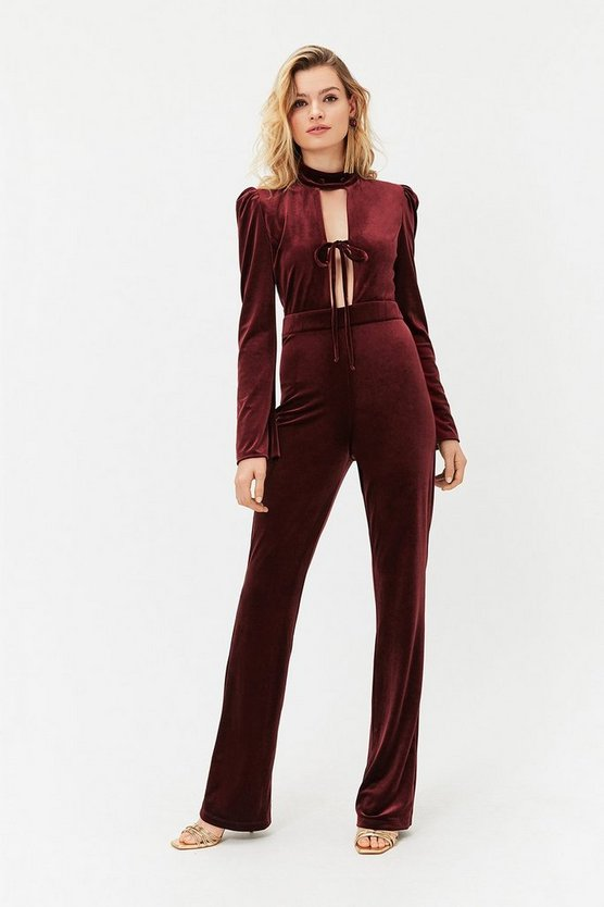 Wine Velvet Bow Detail Jumpsuit