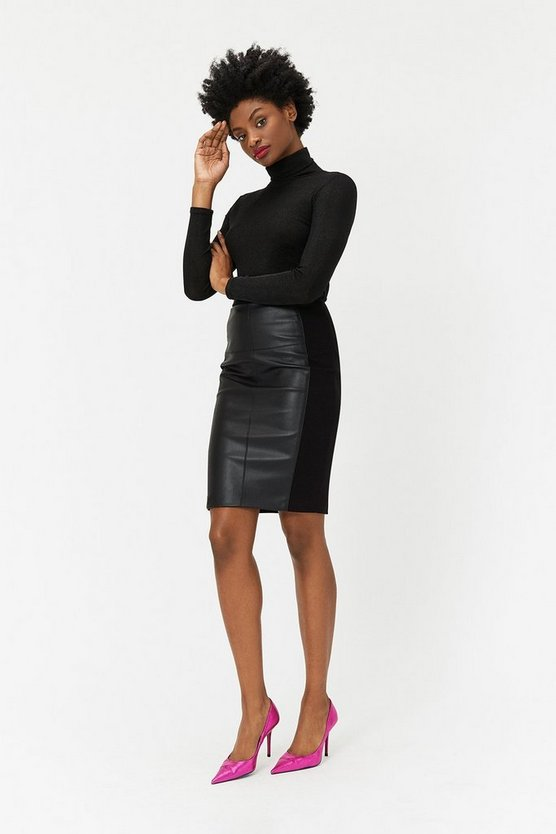 Black PU & Ponte Panelled Skirt