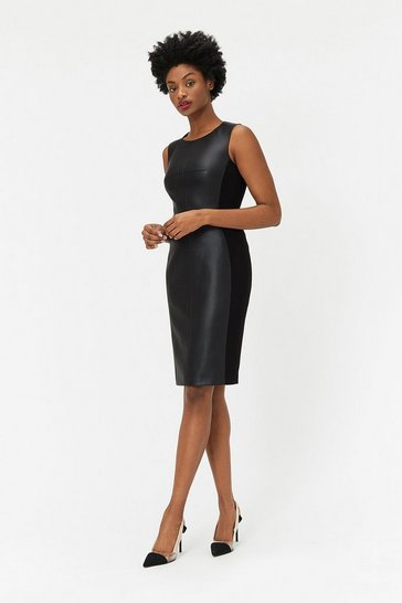 Black PU & Ponte Panelled Dress