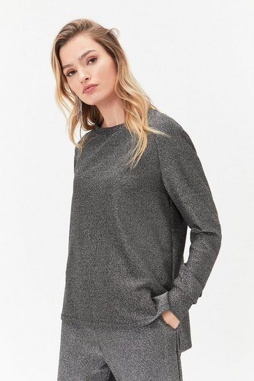 Black Sparkle Jersey Long Sleeve Top