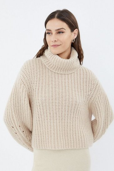 Blush Long Sleeve High Neck Ribbed Jumper