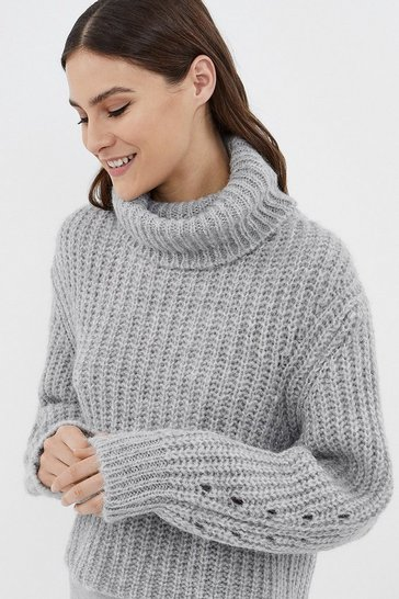 Grey Long Sleeve High Neck Ribbed Jumper