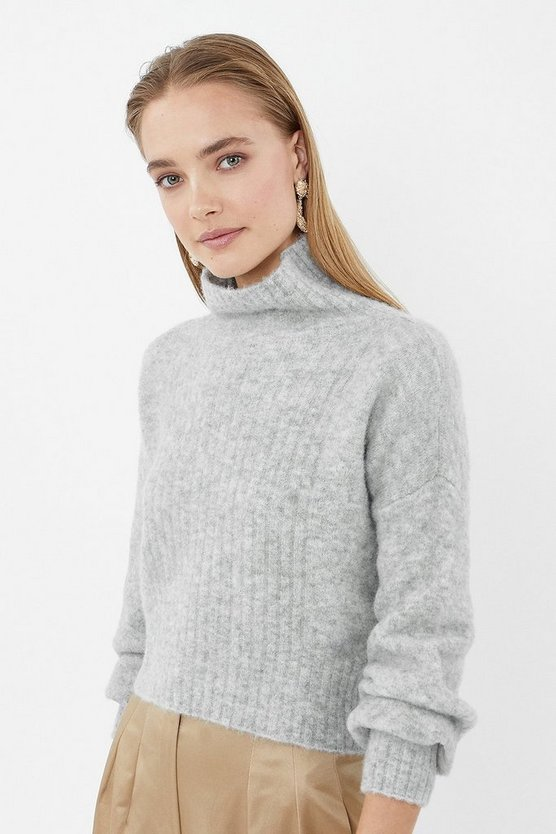 Grey Long Sleeve Fluffy Funnel Neck Jumper