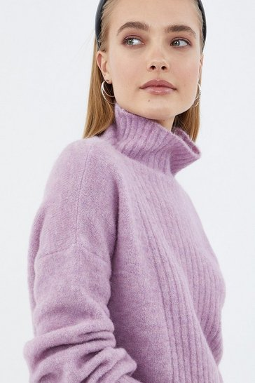 Lavender Long Sleeve Fluffy Funnel Neck Jumper