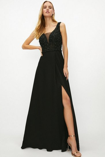 Black Beaded Satin Maxi Dress