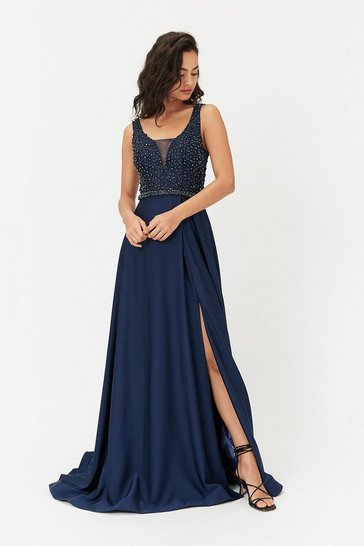 Blue Beaded Satin Maxi Dress