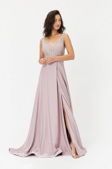 Blush Beaded Satin Maxi Dress