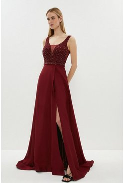 Merlot Beaded Satin Maxi Dress