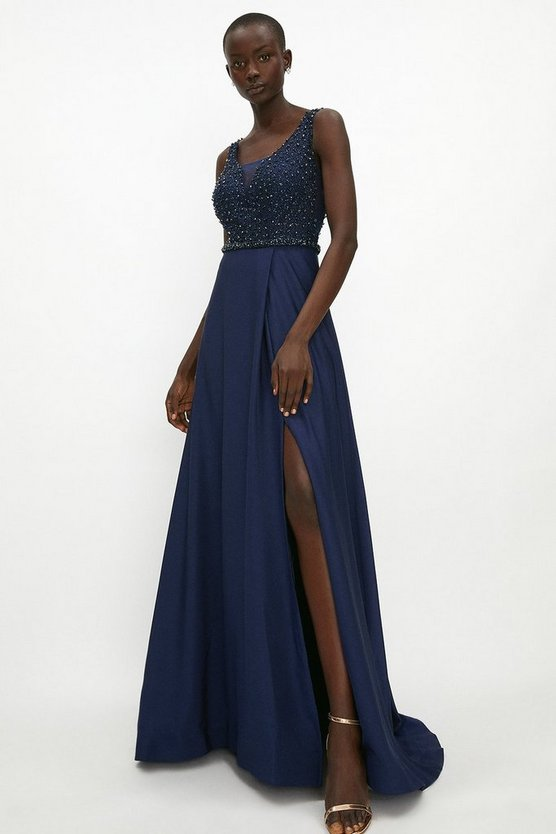 Navy Beaded Satin Maxi Dress