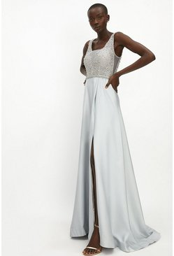 Silver Beaded Satin Maxi Dress