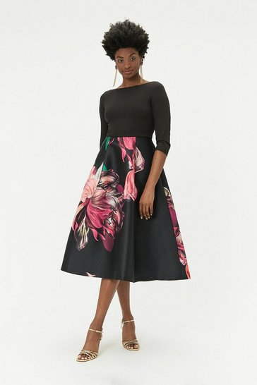 Womens Multi Printed Full Skirt Midi Dress