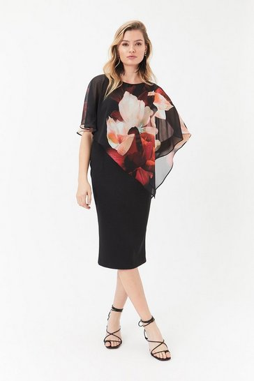 Multi Printed Overlayer Dress