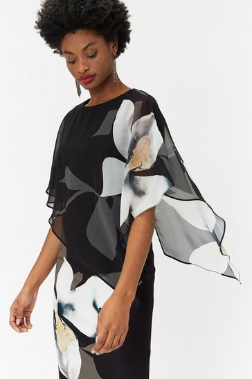 Blackwhite Curve Abstract Floral Overlayer Dress