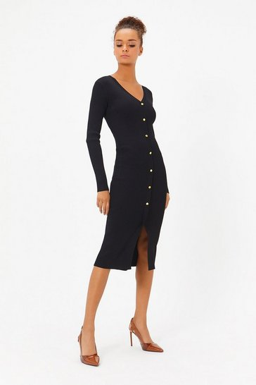 Womens Black Rib Knit Button Dress
