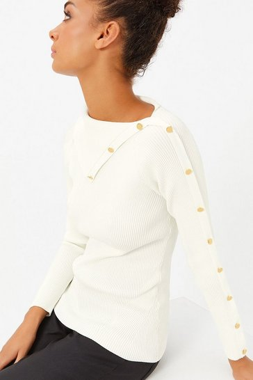 Womens Natural Button Rib Jumper