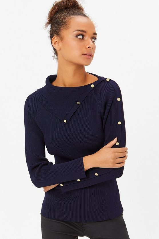 Navy Button Rib Jumper