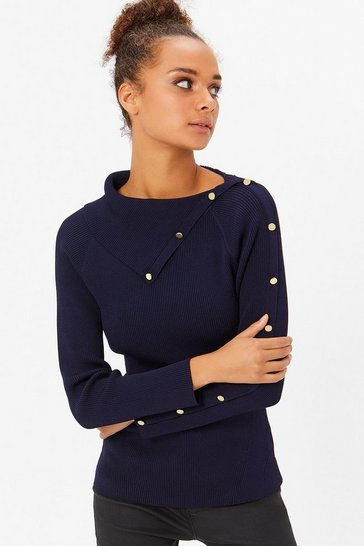 Womens Navy Button Rib Jumper