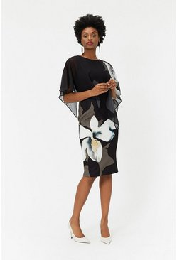 Blackwhite Abstract Floral Overlayer Dress