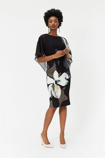 Womens Blackwhite Abstract Floral Overlayer Dress