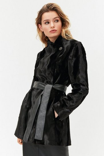 Womens Black Short Faux Fur Coat