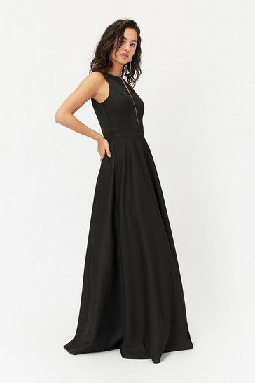 Black Satin Maxi Tulle Underskirt Dress