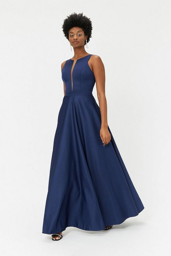 Navy Satin Tulle Underskirt Maxi Dress
