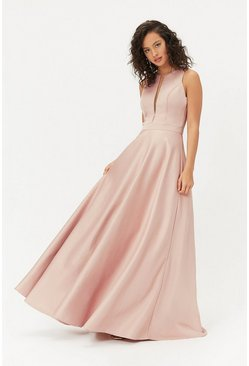 Pink Satin Tulle Underskirt Maxi Dress